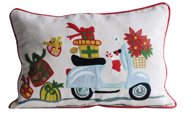 Christmas Scooter with Presents Pillow