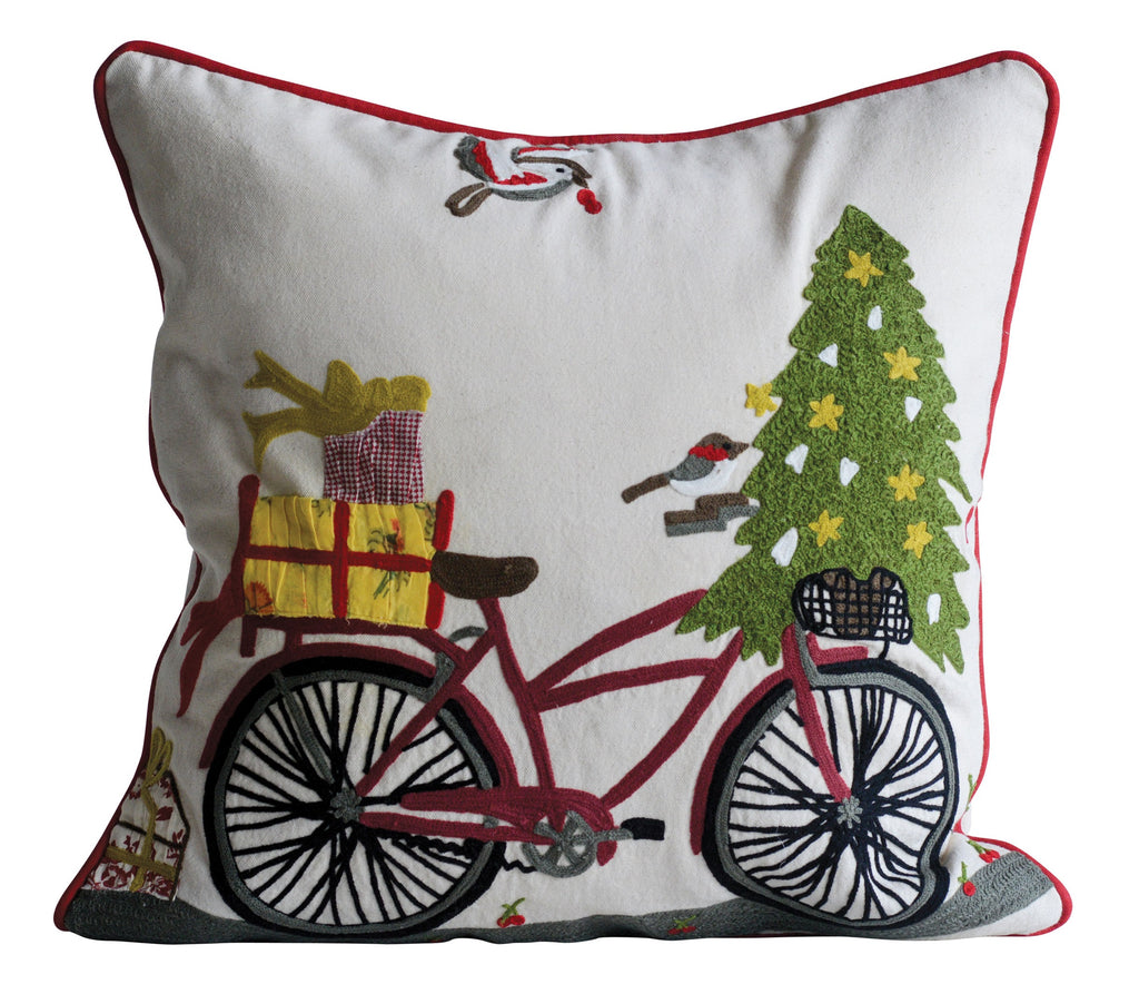 Cotton Pillow with Christmas Bicycle