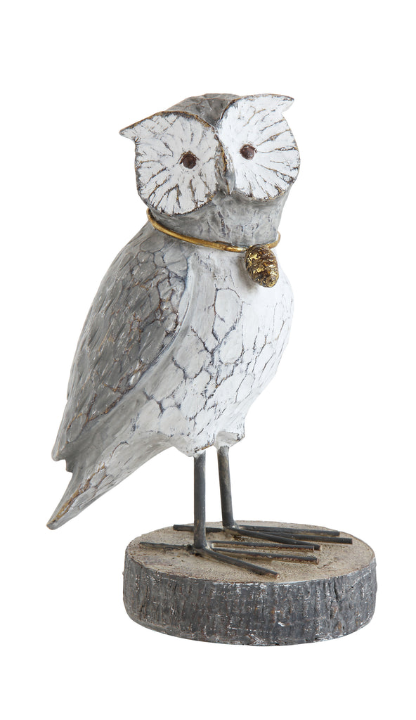 Stoneware Owl with Gold Acorn Necklace