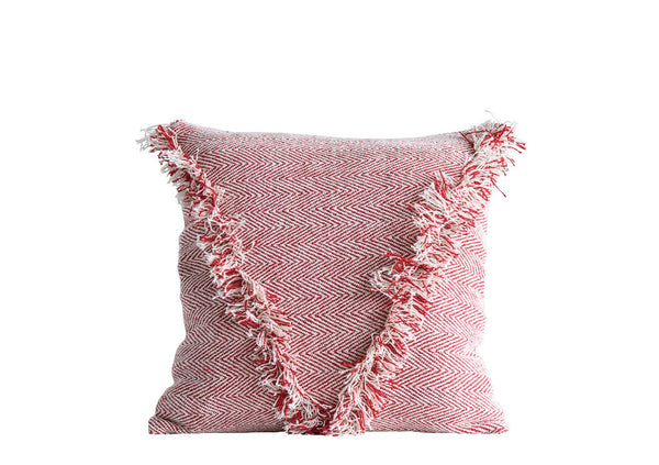 Cotton Woven Pillow with Fringe
