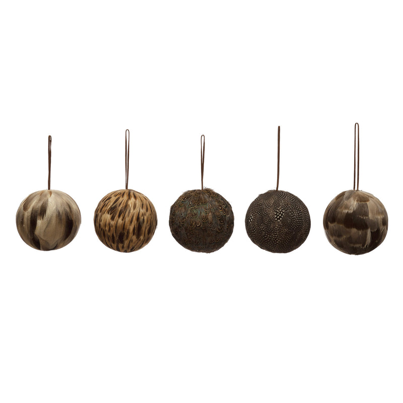 Feather Ball Ornaments w/ Leather String