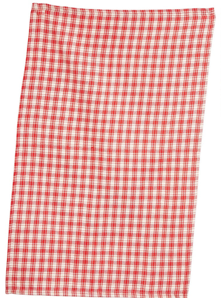 Red and Cream Patterned Tea Towels
