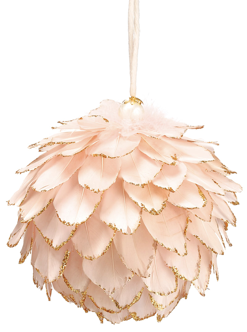 Pink Glitter Feather Ornament
