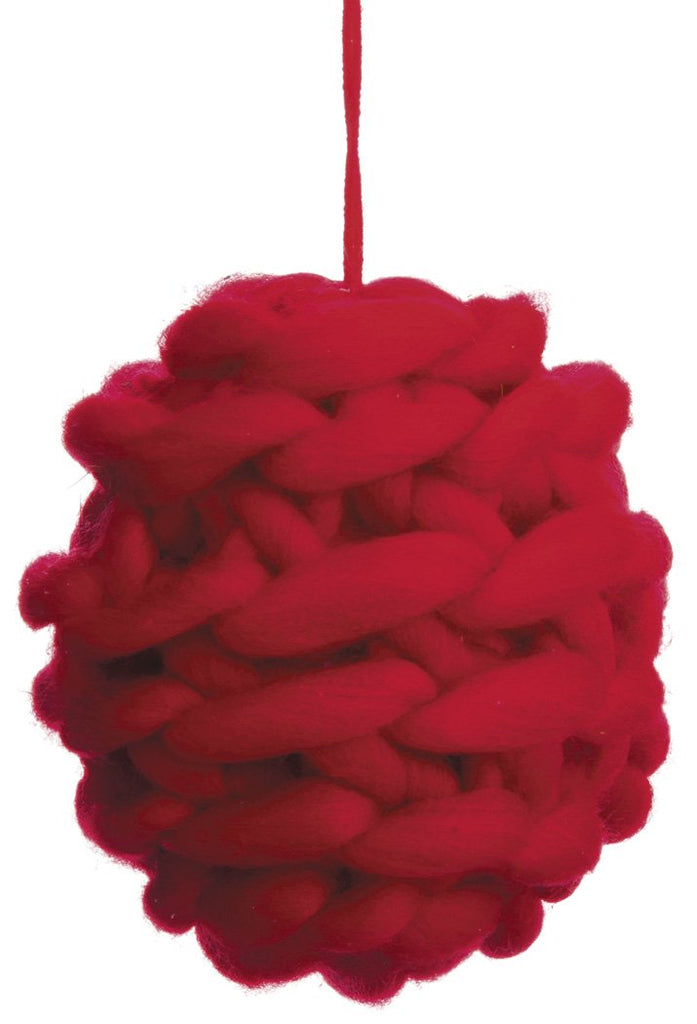Knitted Wool Red Christmas Ornament