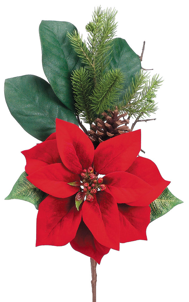 Velvet Poinsettia Pine Spray