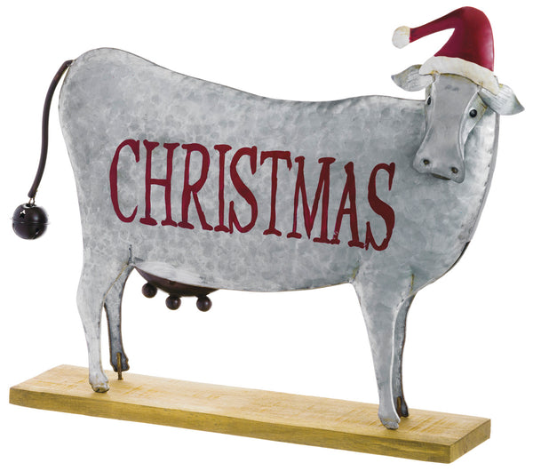 Metal Christmas Cow