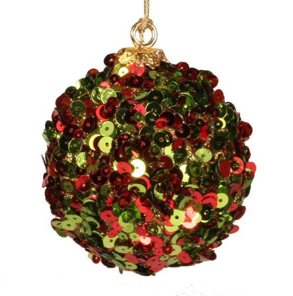 Red and Lime Green Glitter Sequin Ornament
