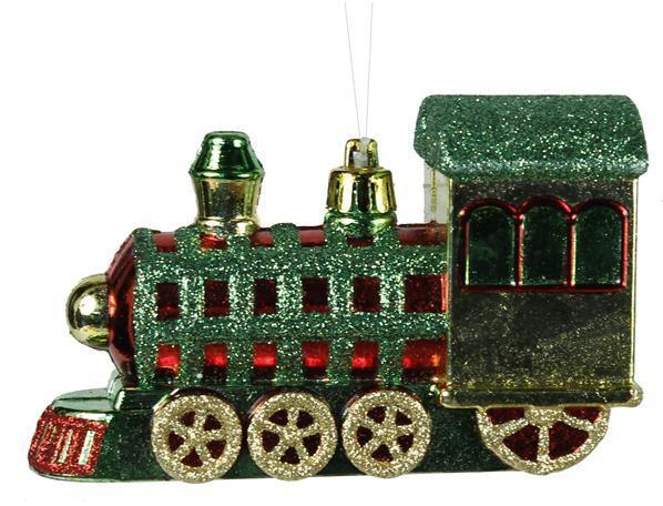 Green Glitter Choo Choo Train Ornament