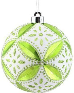 Green White Floral Daisy Ornament 5in
