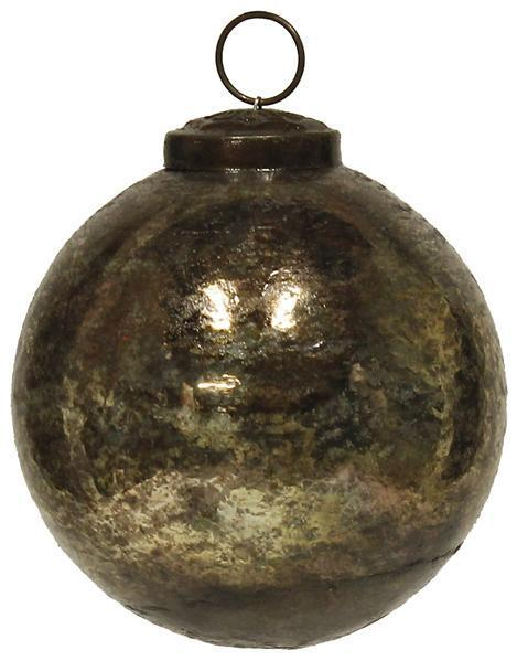 Glass Oxidized Ball Ornament