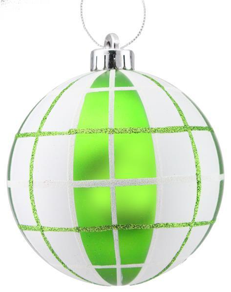 Lime White Plaid Glass Ornament