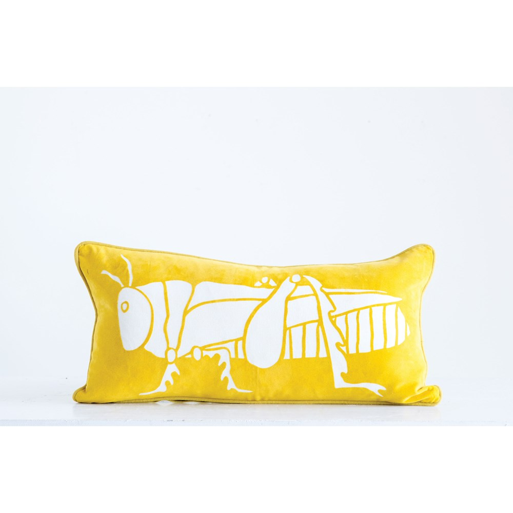 Going White Grasshopper Velvet Lumbar Pillow