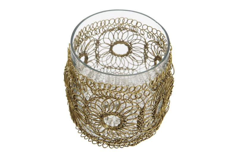 Hand-Woven Wire Votive Holder w/ Glass Insert