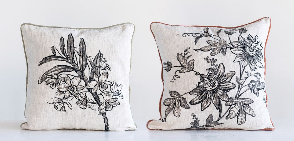 Cotton & Velvet Printed Pillow w/ Floral Image