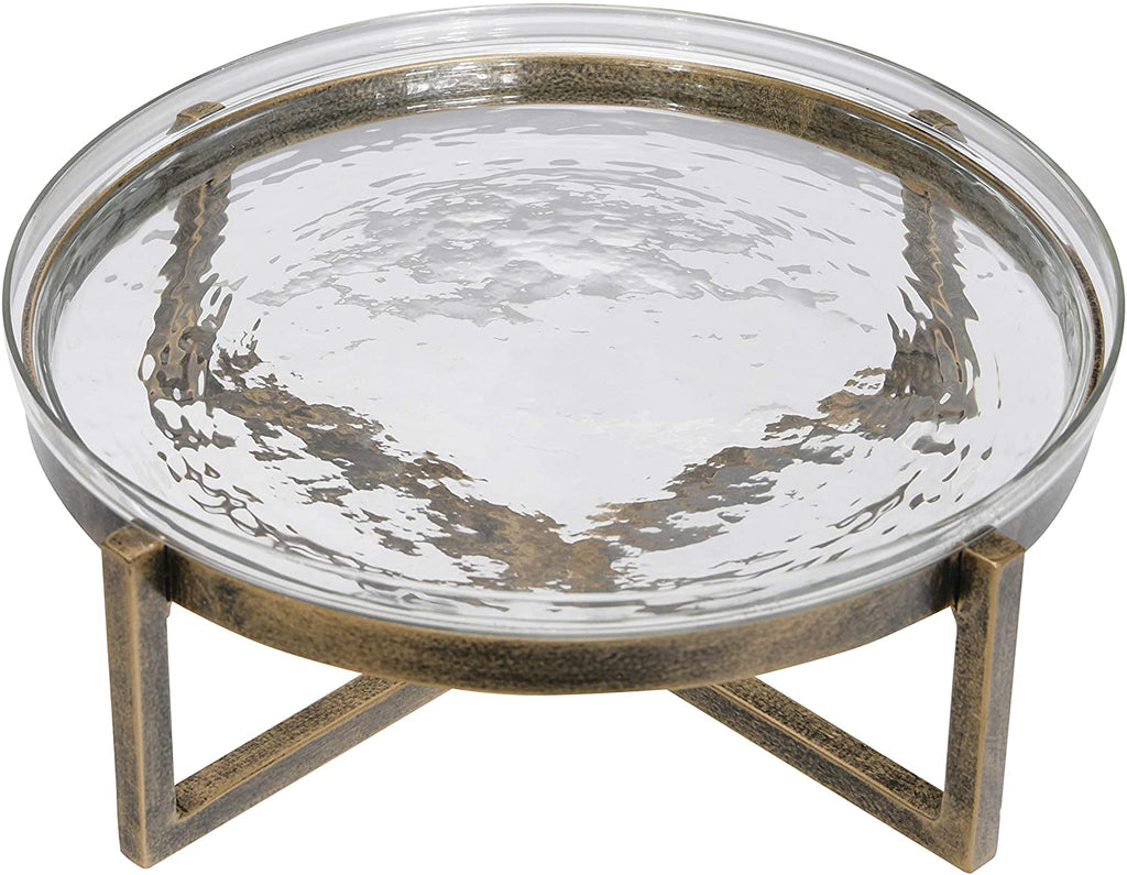 Large Glass Serving Tray on Metal Stand