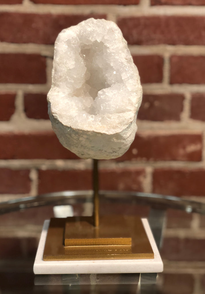 Quartz Geode On Gold Stand 10x4.5in