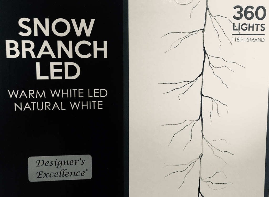 Warm White LED Frosted Snow Branch Strand 9ft