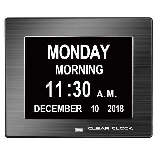 Clear Clock Digital Memory Loss Calendar Day Clock With Optional Day Cycle Mode Metal Frame (Black)