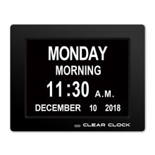 Load image into Gallery viewer, Clear Clock Digital Memory Loss Calendar Day Clock With Optional Day Cycle Mode (Black)
