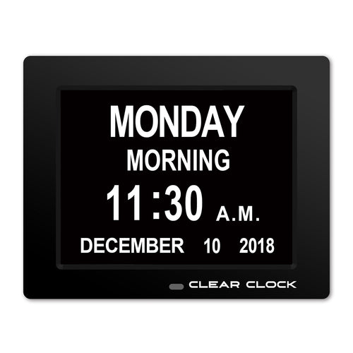 Clear Clock Digital Memory Loss Calendar Day Clock With Optional Day Cycle Mode (Black)