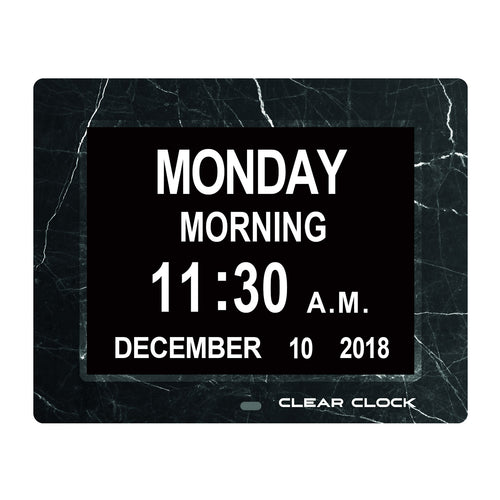 Clear Clock Digital Memory Loss Calendar Day Clock With Optional Day Cycle Mode (Black Marble)