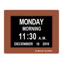 Load image into Gallery viewer, Clear Clock Digital Memory Loss Calendar Day Clock With Optional Day Cycle Mode (Brown)