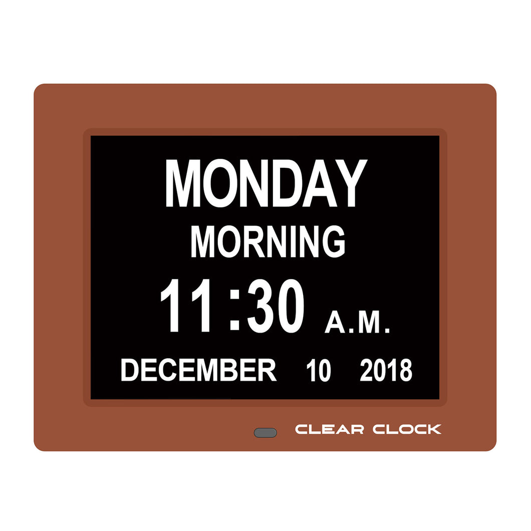 Clear Clock Digital Memory Loss Calendar Day Clock With Optional Day Cycle Mode (Brown)