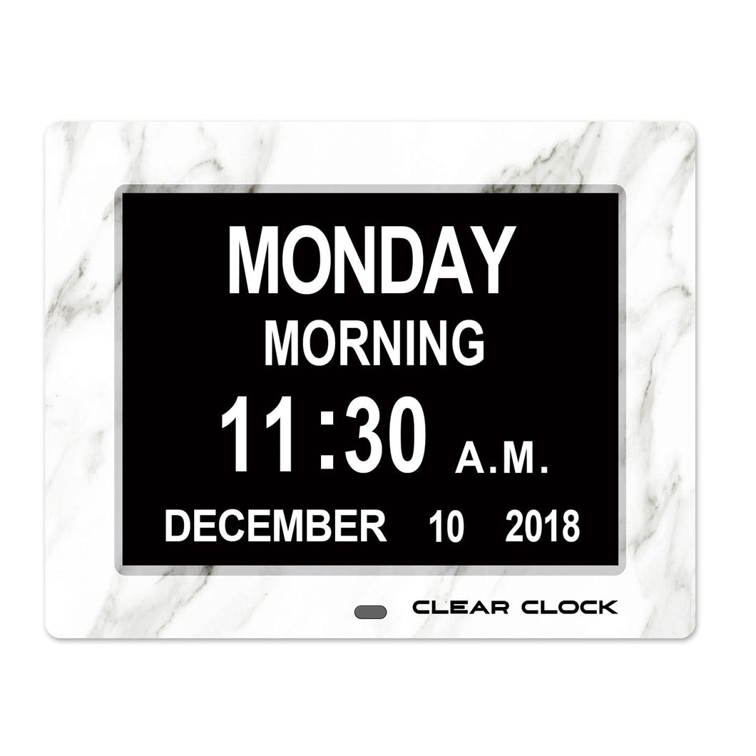 Clear Clock Digital Memory Loss Calendar Day Clock With Optional Day Cycle Mode (White Marble)