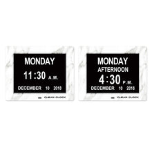 Load image into Gallery viewer, Clear Clock Digital Memory Loss Calendar Day Clock With Optional Day Cycle Mode (White Marble)