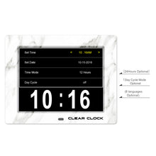 Load image into Gallery viewer, Clear Clock Digital Memory Loss Calendar Day Clock With Optional Day Cycle Mode (White)