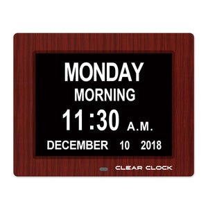 Clear Clock Digital Memory Loss Calendar Day Clock With Optional Day Cycle Mode (Mahogany)