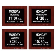 Load image into Gallery viewer, Clear Clock Digital Memory Loss Calendar Day Clock With Optional Day Cycle Mode (Mahogany)
