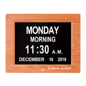 Clear Clock Digital Memory Loss Calendar Day Clock With Optional Day Cycle Mode (OAK)