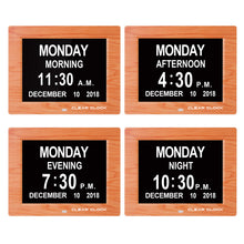 Load image into Gallery viewer, Clear Clock Digital Memory Loss Calendar Day Clock With Optional Day Cycle Mode (OAK)