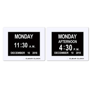 Clear Clock Digital Memory Loss Calendar Day Clock With Optional Day Cycle Mode (White)