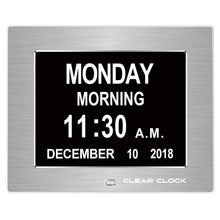 Load image into Gallery viewer, Clear Clock Digital Memory Loss Calendar Day Clock With Optional Day Cycle Mode Metal Frame (Silver)