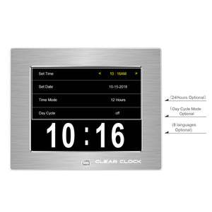 Clear Clock Digital Memory Loss Calendar Day Clock With Optional Day Cycle Mode Metal Frame (Silver)