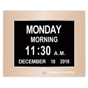 Clear Clock Digital Memory Loss Calendar Day Clock With Optional Day Cycle Mode Metal Frame (Gold)