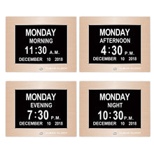 Load image into Gallery viewer, Clear Clock Digital Memory Loss Calendar Day Clock With Optional Day Cycle Mode Metal Frame (Gold)