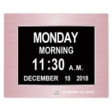 Load image into Gallery viewer, Clear Clock Digital Memory Loss Calendar Day Clock With Optional Day Cycle Mode Metal Frame (Rose)