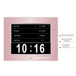 Clear Clock Digital Memory Loss Calendar Day Clock With Optional Day Cycle Mode Metal Frame (Rose)