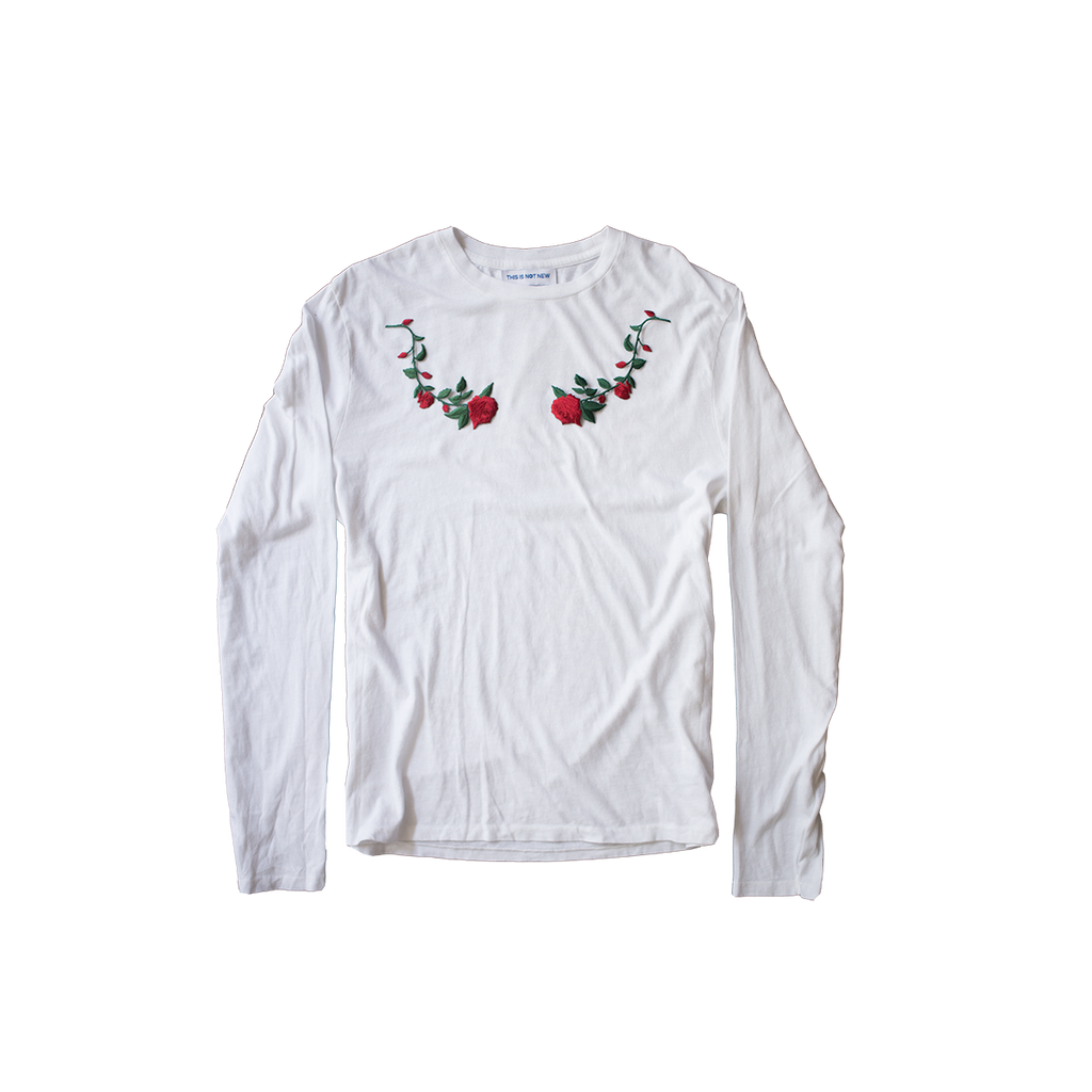 Roses Embroidered Applique Long Sleeve Shirt