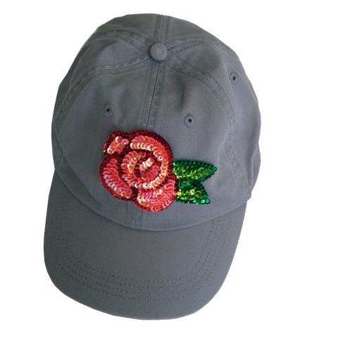 Roses Sequin Appliqué Buckleback Sunworn Cotton Hat