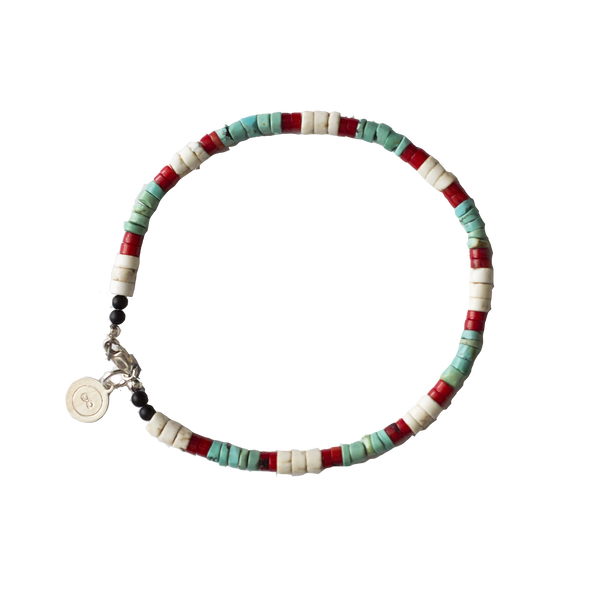 Taos Turquoise and Coral Bracelet with Japanese Selvage Denim Pouch