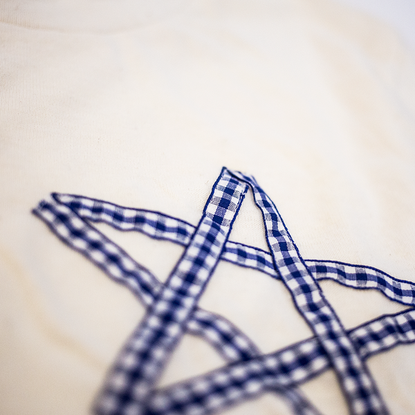 Gingham Star Fleck Cotton 50s Crewneck Shirt