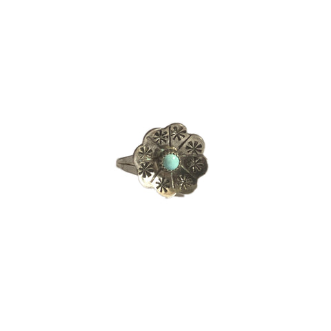 Sterling Silver Turquoise Peyote Flower Ring