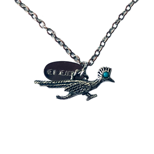 Sterling Silver / Turquoise .925 New Mexico Roadrunner Necklace Pendant