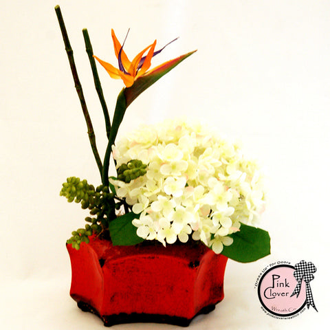 Bird of Paradise-Bamboo-White Hydrangea-Orange Ceramic Vase-Tropical Silk Floral Arrangement