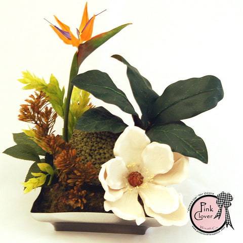 Bird of Paradise-Magnolia Blossom-Tropical Silk Floral Arrangement