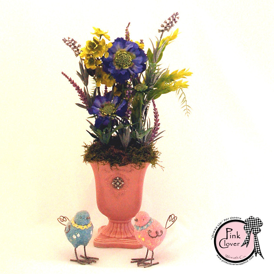 Pink Floral Arrangement-lavender-blue-chartreuse-light pink vase-spring arrangement-summer arrangement-little girls room-vanity